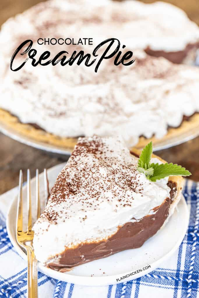 slice of chocolate cream pie on a plate