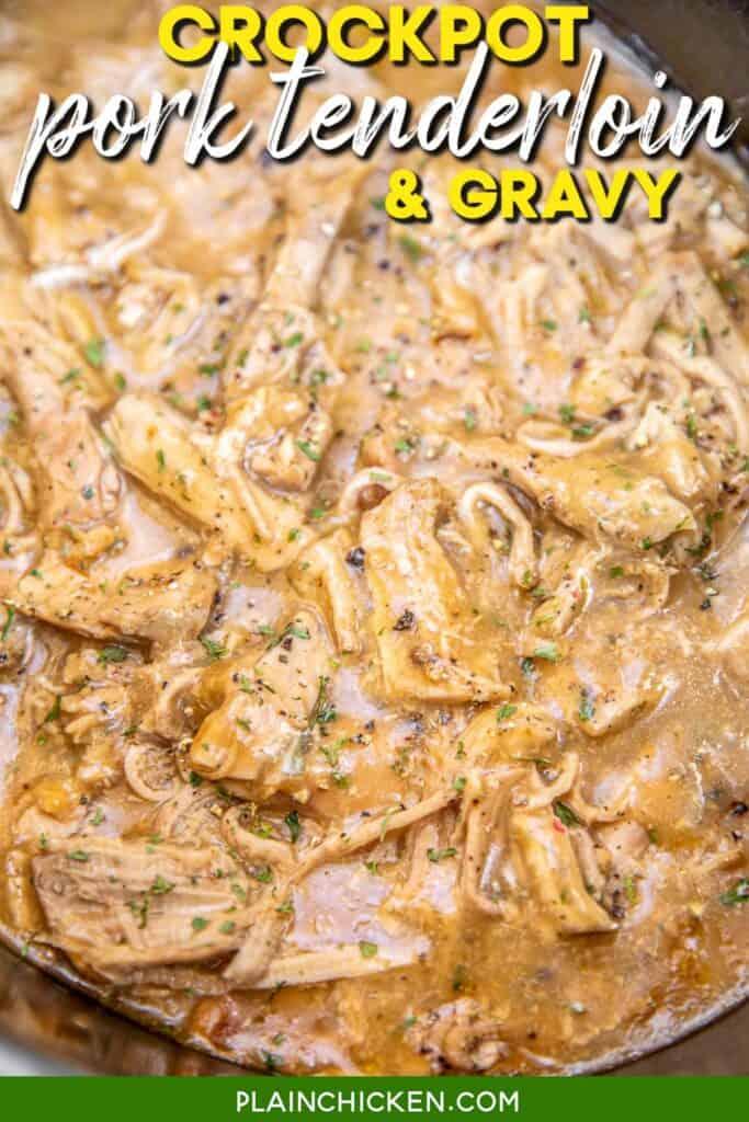 crockpot of shredded pork tenderloin in gravy