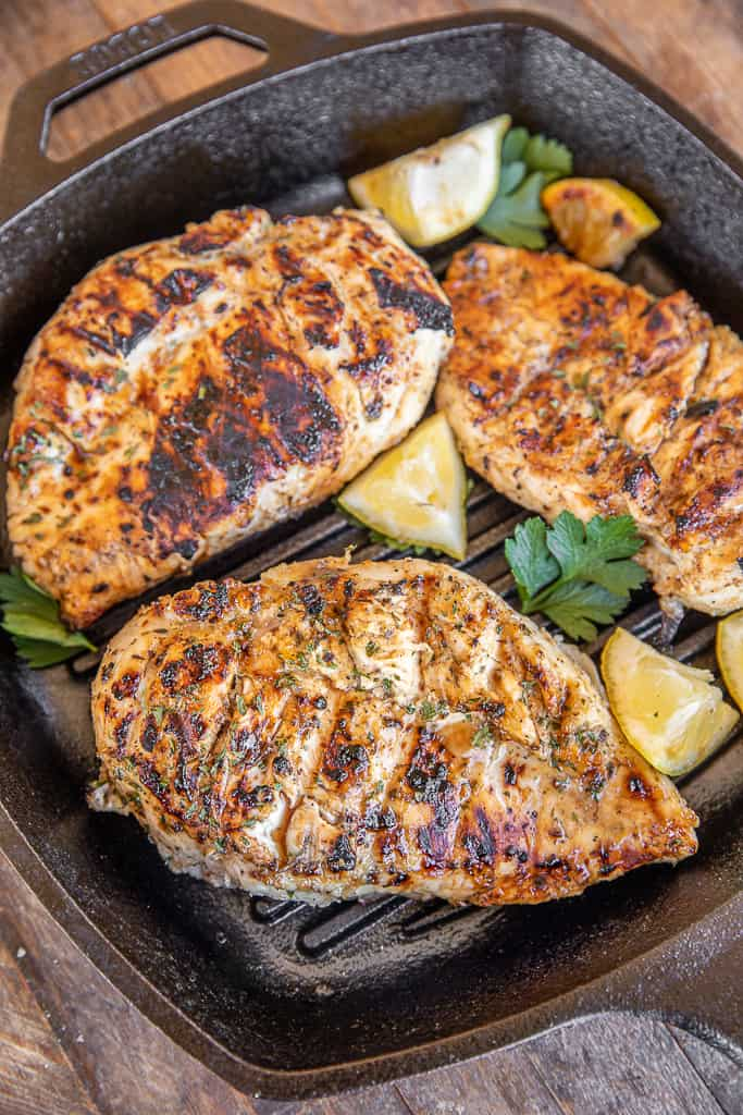 grilled greek chicken in a grill pan