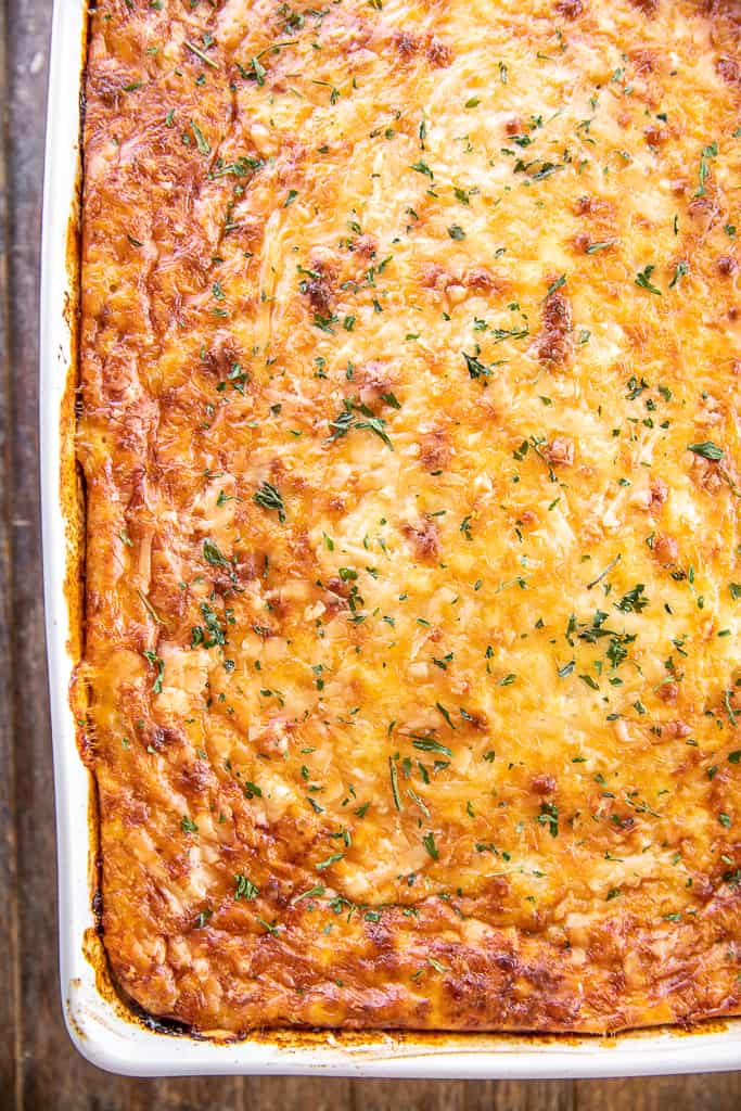 ham & cheese hash brown breakfast casserole in baking dish