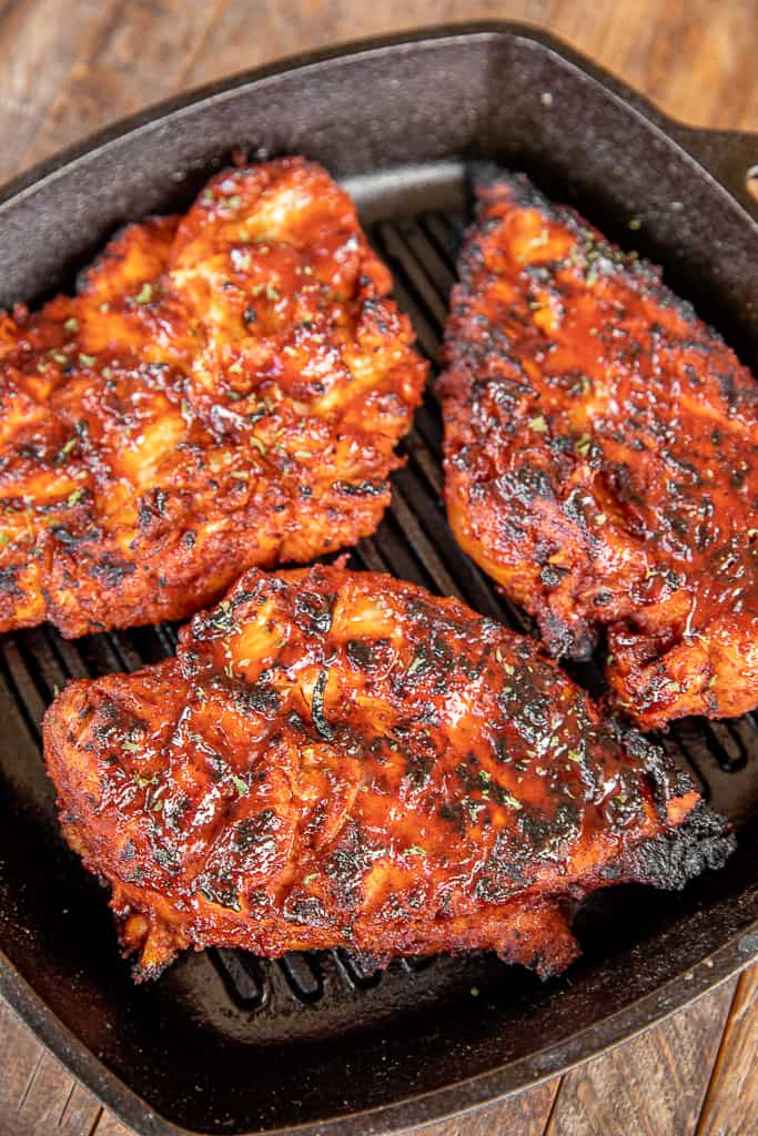 kansas city bbq grilled chicken in grill pan