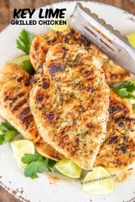 key lime grilled chicken on a plate