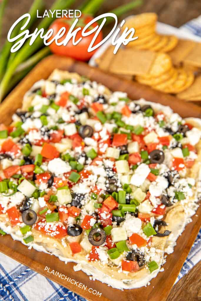 layered greek dip on platter