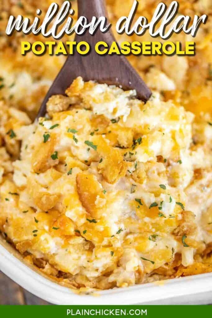 scooping potato casserole from baking dish