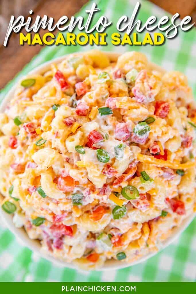 bowl of pimento cheese macaroni salad
