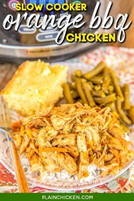 plate of shredded bbq chicken with green beans and cornbread