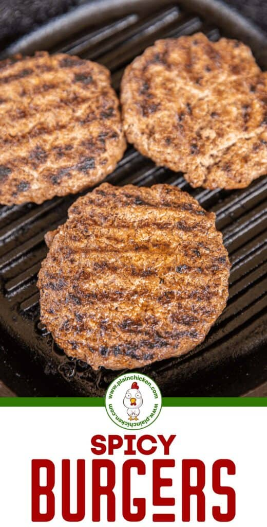 spicy burgers in grill pan