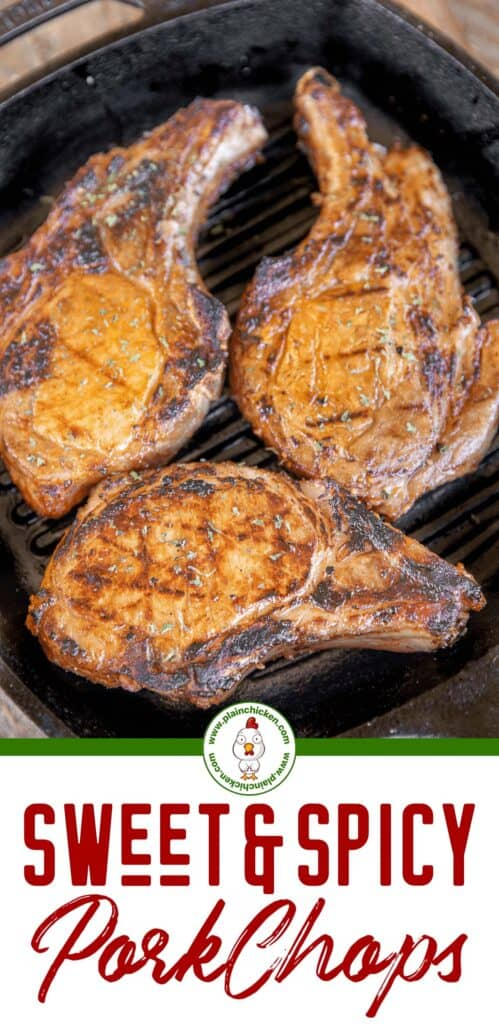 sweet heat pork chops in grill pan