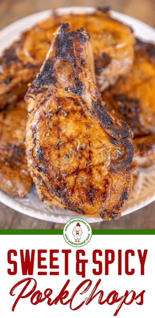 sweet heat pork chops on a plate