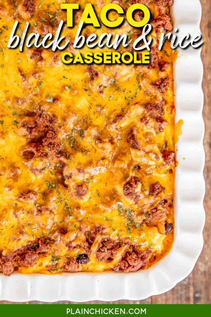 cheesy casserole in baking dish