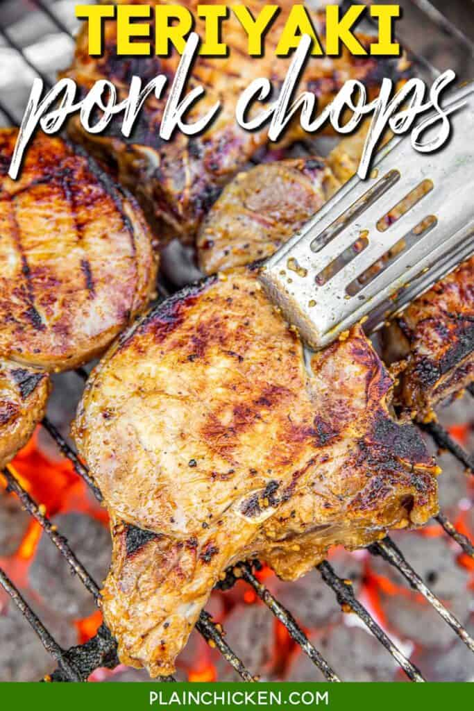 pork chops cooking on the grill