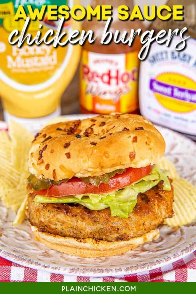 chicken burger on a plate