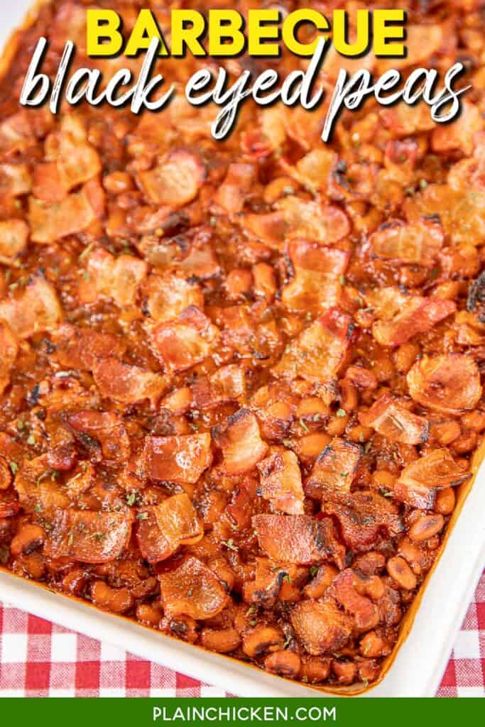 baking dish of baked beans
