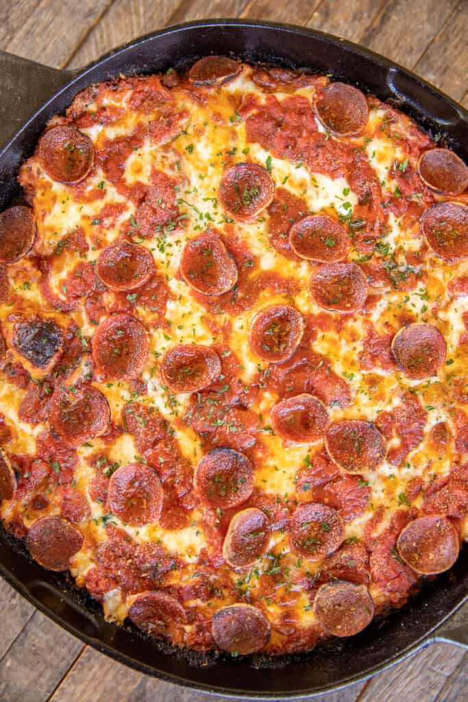 pizza in a cast iron skillet