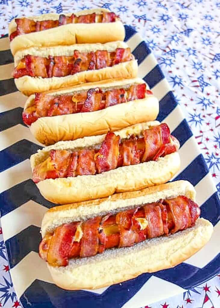 bacon hot dogs on a platter