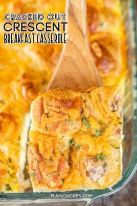 slice of breakfast casserole on a spatula