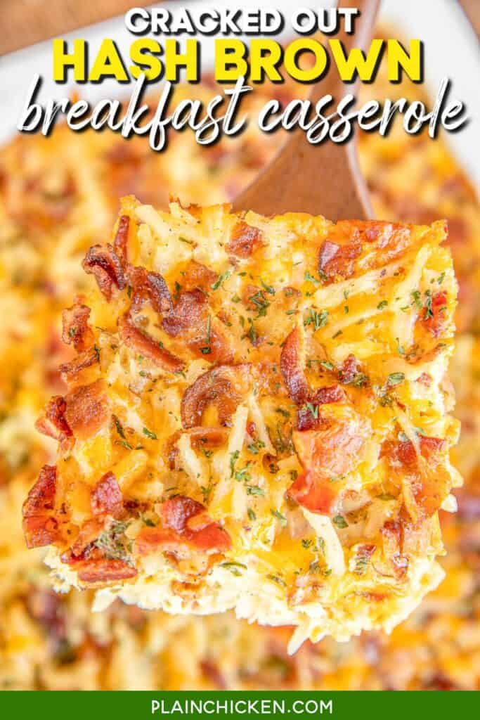 slice of cracked out hash brown breakfast casserole on a spatula