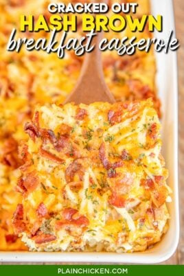 scooping cracked out hash brown breakfast casserole