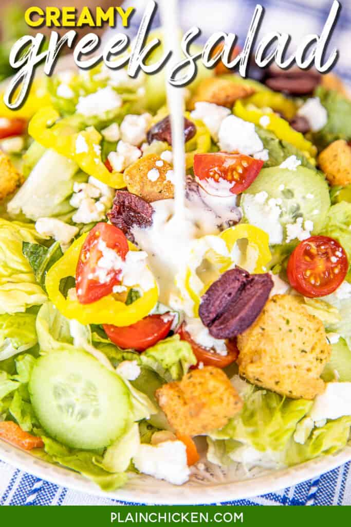 plate of greek salad with creamy dressing