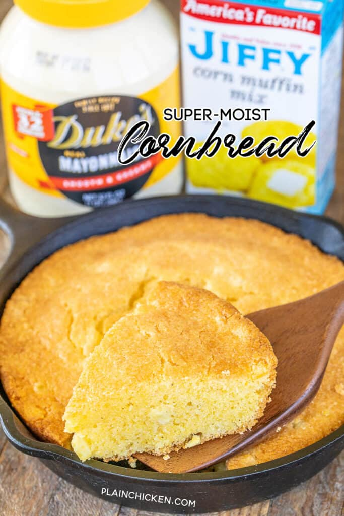 cutting super moist cornbread in skillet