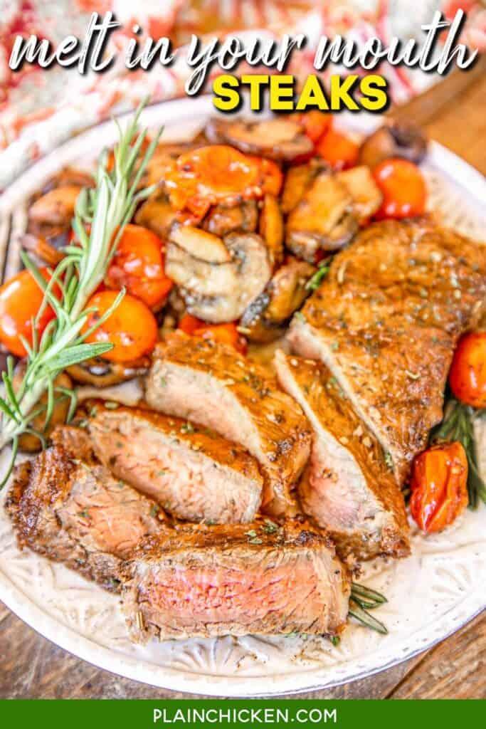 sliced steak on a plate