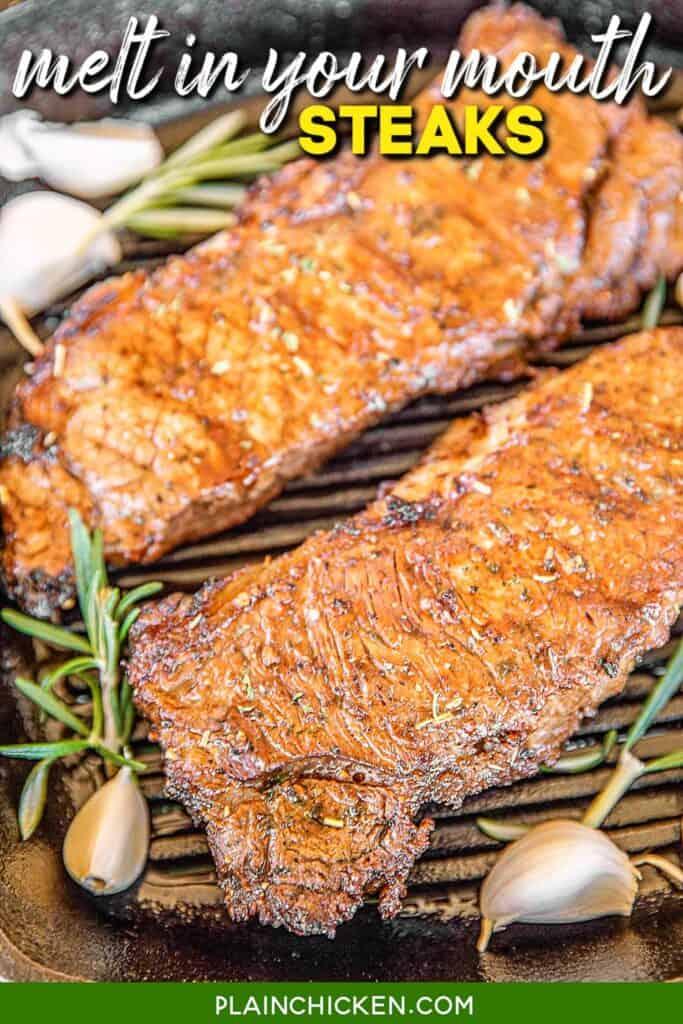steaks in grill pan