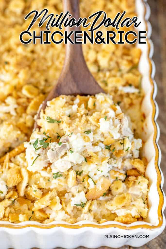 scooping chicken & rice from casserole dish