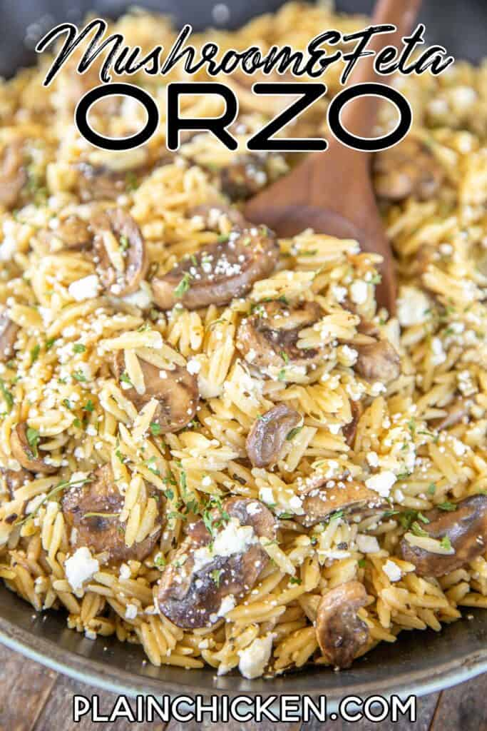 spooning orzo from skillet
