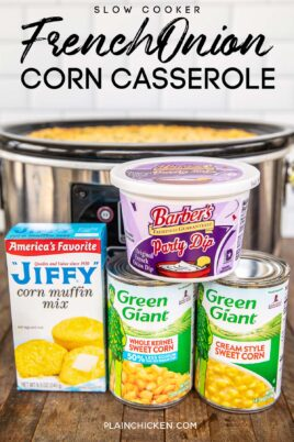 slow cooker corn casserole with ingredients