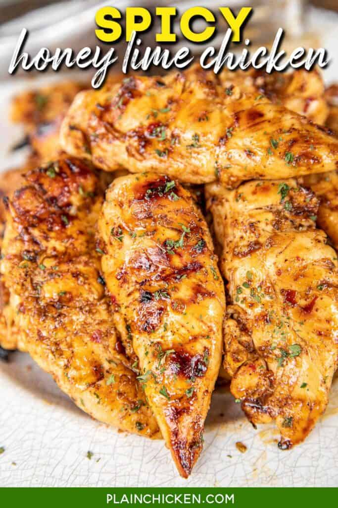 plate of grilled chicken tenders