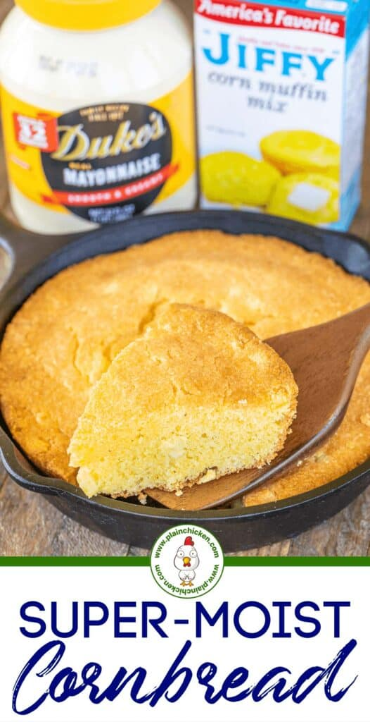 cutting super moist mayonnaise cornbread in skillet