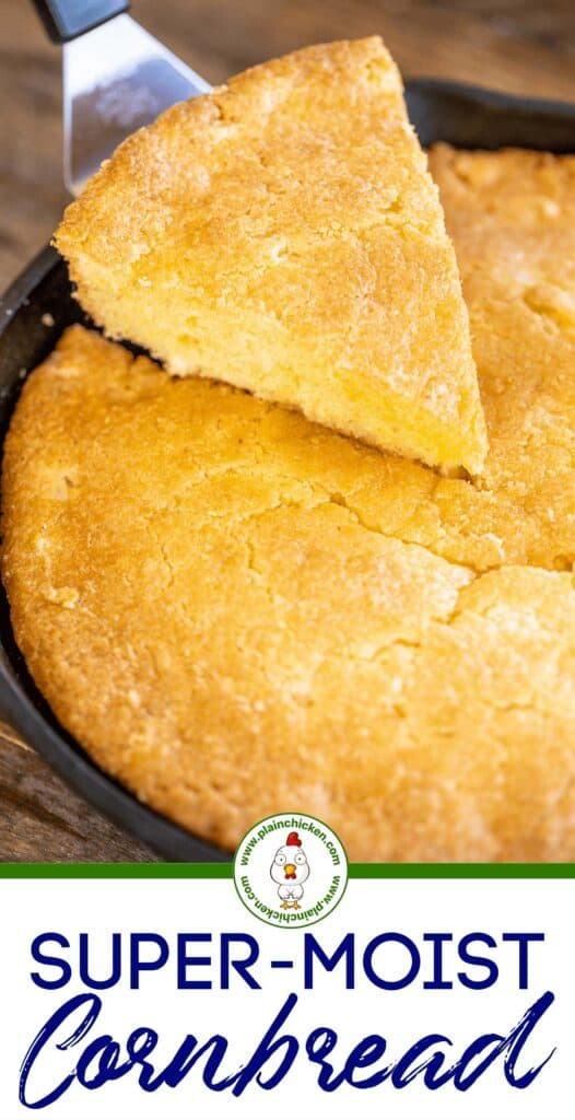cutting cornbread in skillet