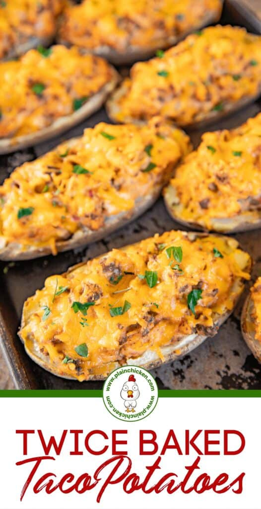 twice baked potatoes on a baking sheet
