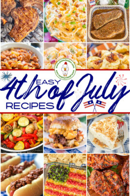collage of 4th of July party foods
