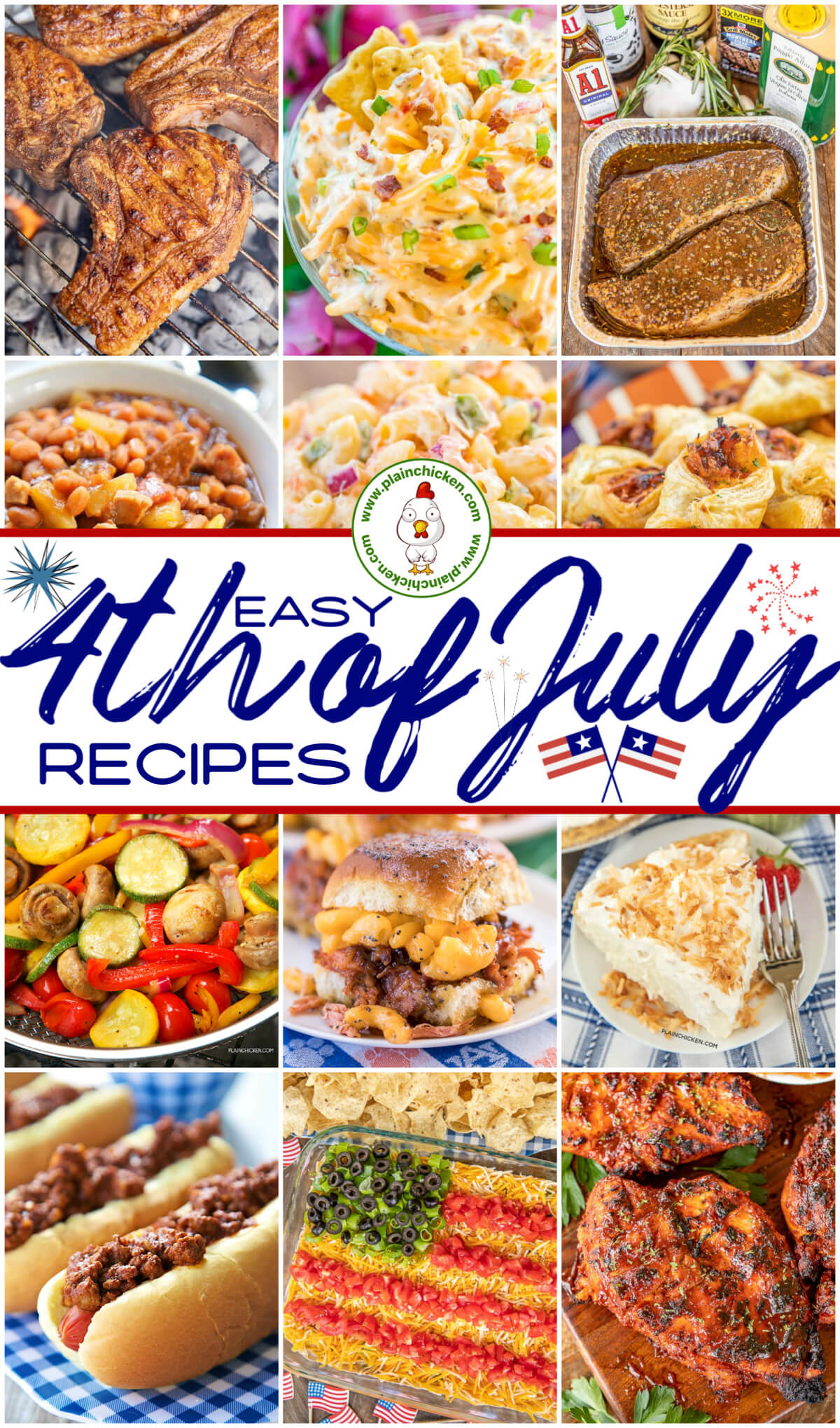 collage of 4th of July food photos