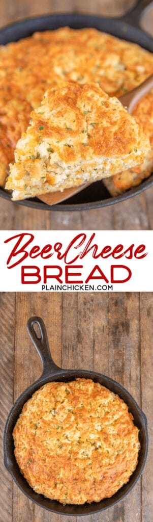 2 photos of beer cheese bread
