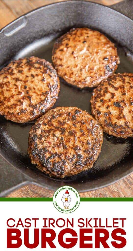 burgers in a cast iron skillet
