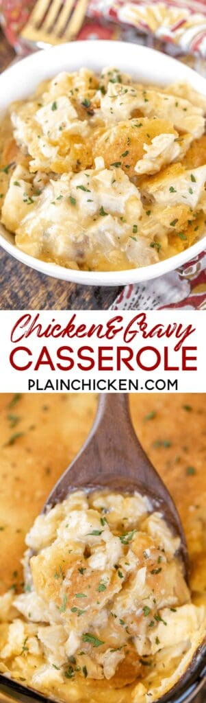collage of 2 photos of chicken & gravy casserole
