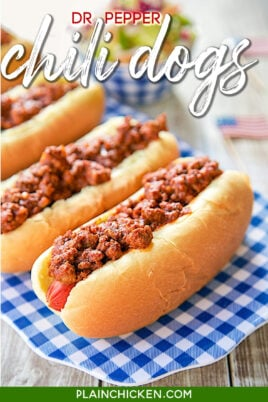 chili dogs on a platter