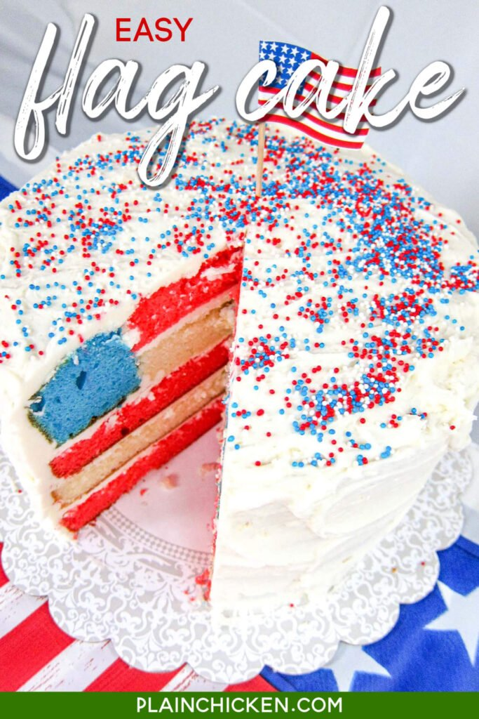 cake with american flag inside