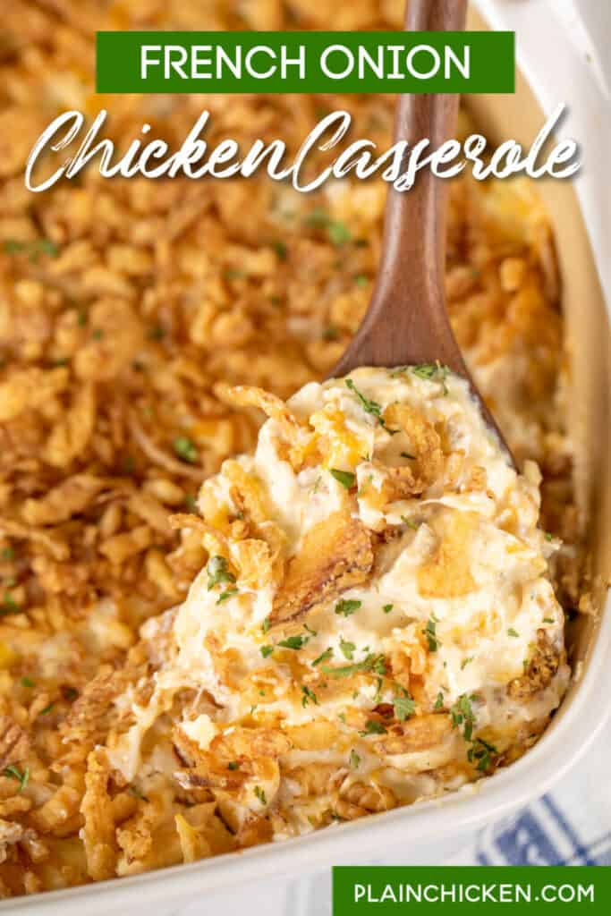 scooping chicken casserole from baking dish