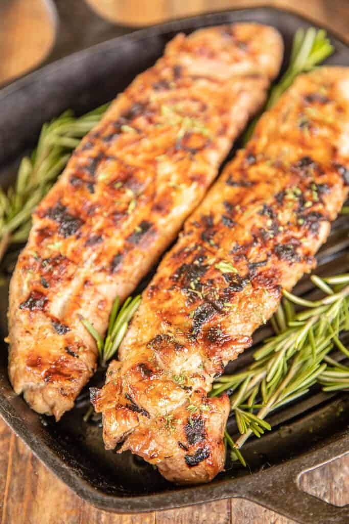 2 pork tenderloins in a grill pan