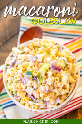 bowl of macaroni coleslaw