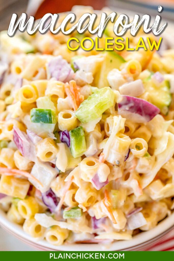 bowl of macaroni coleslaw