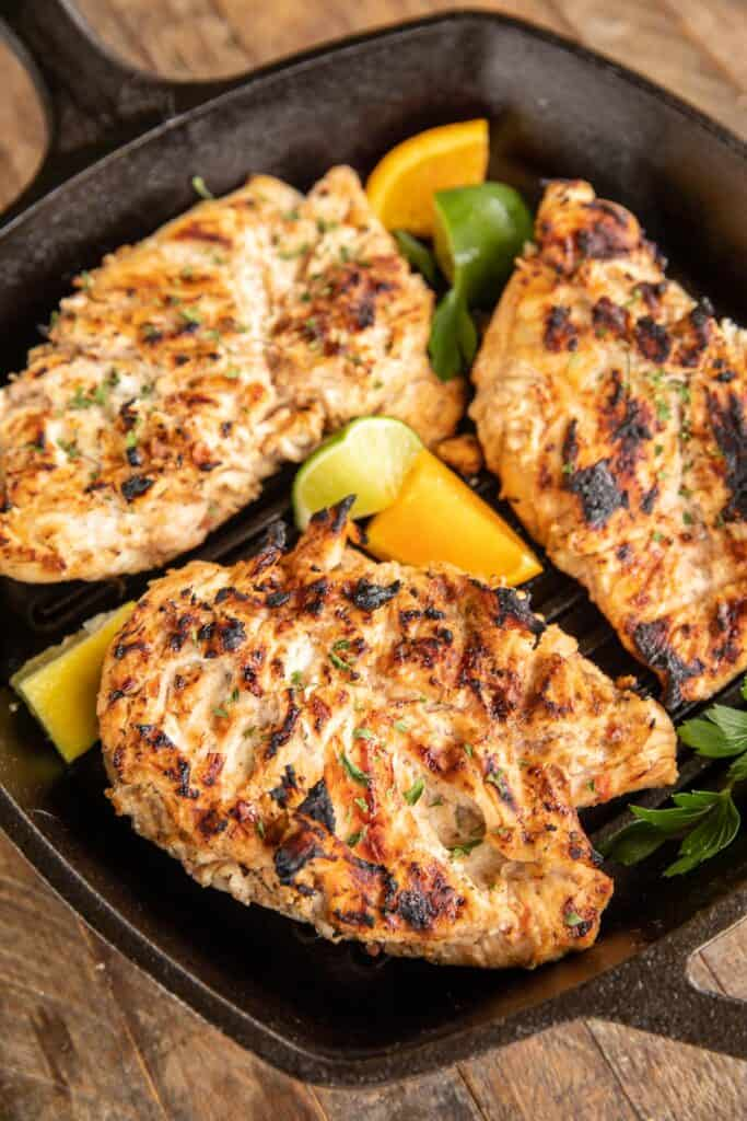 chicken in grill pan