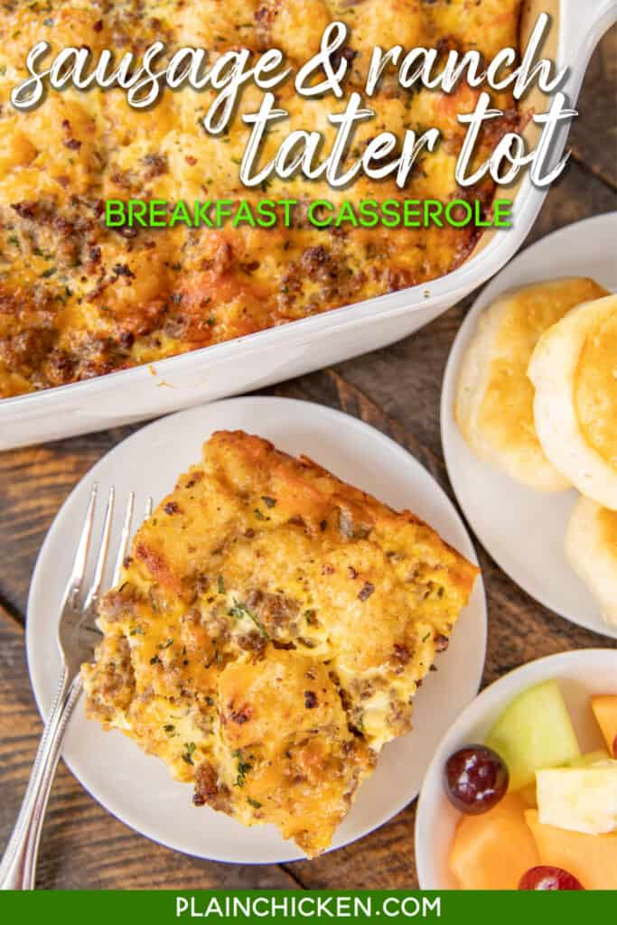 tater tot casserole with biscuits and fruit