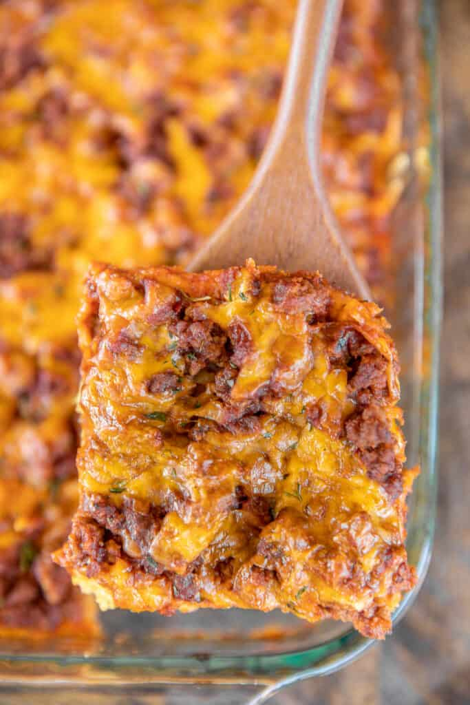 serving sloppy joe casserole from baking dish