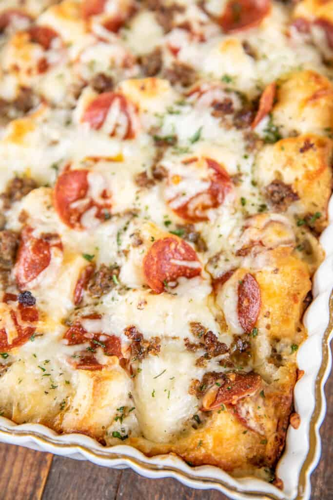 pizza in baking dish