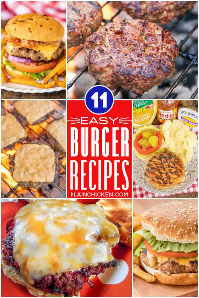 collage of grilled burger photos