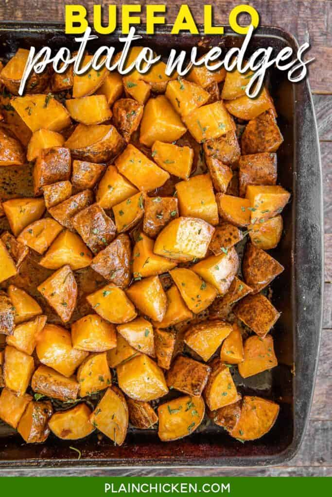 baking dish of potatoes tossed in buffalo sauce